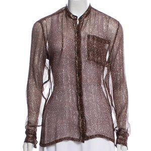 Dries Van Noten Print Sheer Silk Metallic Blouse